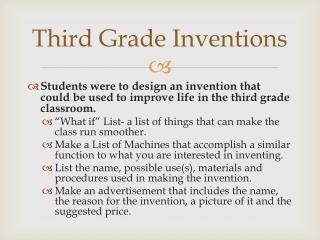 Third Grade Inventions