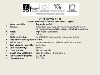 VY_32_INOVACE_04_01 Základní vzdělávání – Člověk a společnost – Dějepis