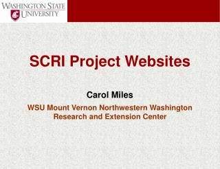 Carol Miles WSU Mount Vernon Northwestern Washington  Research and Extension Center