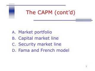 The CAPM (cont'd)