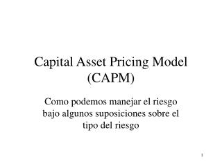 Capital Asset Pricing Model (CAPM)