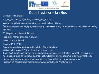 Doba husitská – Jan Hus