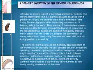 A Detailed Overview Of The Siemens Hearing Aids
