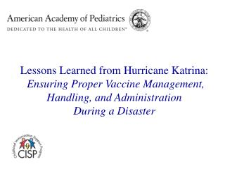 Lessons Learned from Hurricane Katrina: