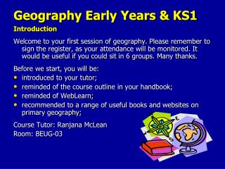 Geography Early Years & KS1