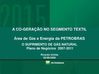 A CO-GERAÇÃO NO SEGMENTO TEXTIL Á rea de G á s e Energia da PETROBRAS O SUPRIMENTO DE GÁS NATURAL