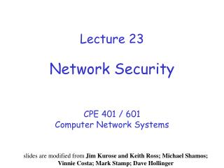 Lecture 23 Network Security