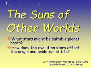 The Suns of Other Worlds