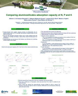 Comparing aluminosilicates adsorption capacity of N, P and K