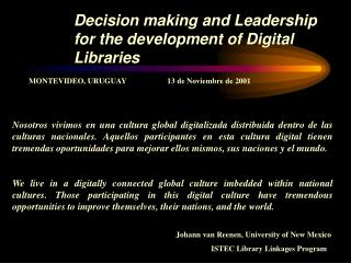Decision making and Leadership for the development of Digital Libraries