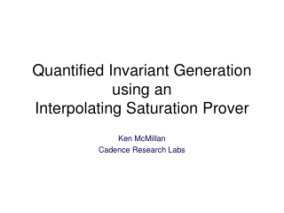 Quantified Invariant Generation using an Interpolating Saturation Prover