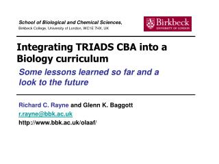 Integrating TRIADS CBA into a Biology curriculum