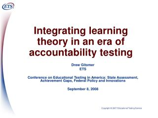 Integrating learning theory in an era of accountability testing