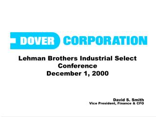 Lehman Brothers Industrial Select Conference December 1, 2000