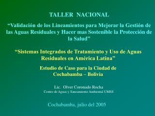 """""""Sistemas Integrados de Tratamiento y Uso de Aguas Residuales en América Latina"""""""