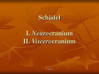 Schädel I.  Neuro cranium II.  Viscero cranium