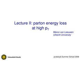 Lecture II: parton energy loss  at high p T