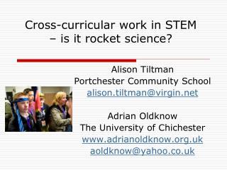 Cross-curricular work in STEM  – is it rocket science?