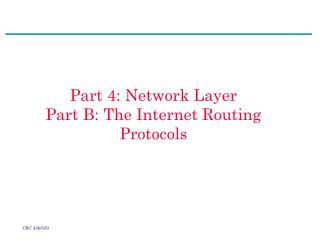 Part 4: Network Layer Part B: The Internet Routing Protocols