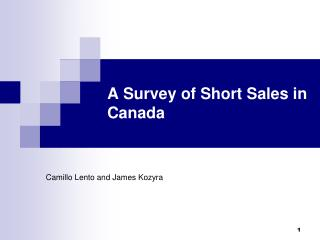A Survey of Short Sales in Canada