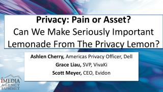 Privacy: Pain or Asset?  Can We Make Seriously Important Lemonade From The Privacy Lemon?