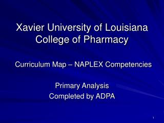 Xavier University of Louisiana College of Pharmacy Curriculum Map � NAPLEX Competencies