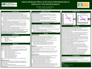 Puberty Moderates Effects of the Parent-Child Relationship on  Adolescents' Internalizing Symptoms