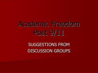 Academic Freedom Post 9/11