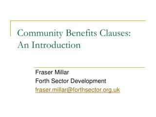 Community Benefits Clauses: An Introduction