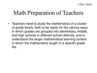 Math Preparation of Teachers