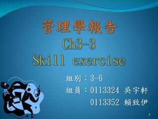 管理學報告 Ch3-3 Skill exercise