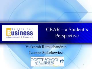 CBAR – a Student's Perspective