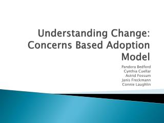 Understanding Change: Concerns Based Adoption Model