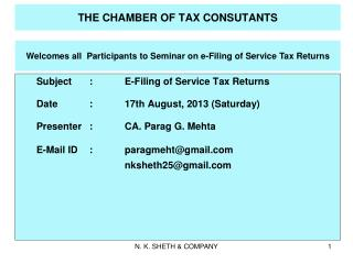 THE CHAMBER OF TAX CONSUTANTS