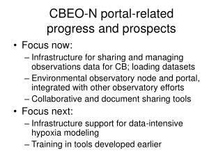 CBEO-N portal-related  progress and prospects