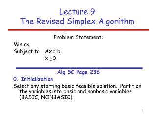 Lecture 9  The Revised Simplex Algorithm