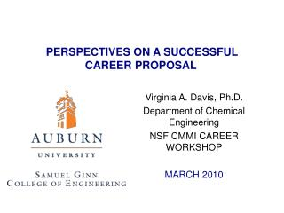 PERSPECTIVES ON A SUCCESSFUL CAREER PROPOSAL
