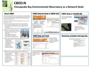 CBEO:N  Chesapeake Bay Environmental Observatory as a Network Node