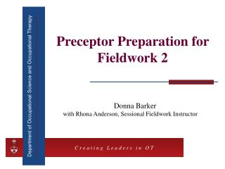 Preceptor Preparation for Fieldwork 2