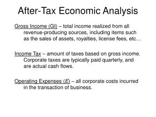 After-Tax Economic Analysis