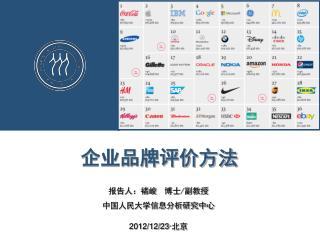 企业品牌评价方法 报告人:褚峻  博士 / 副教授 中国人民大学信息分析研究中心 2012/12/23· 北京