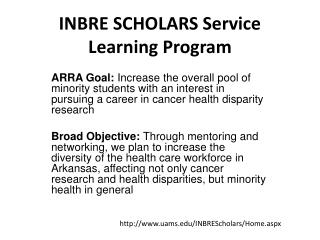 INBRE SCHOLARS Service Learning Program