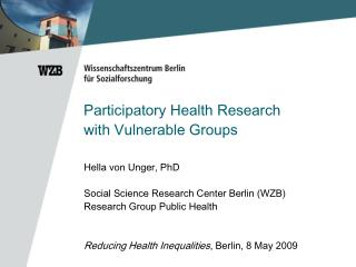 Participatory Health Research  with Vulnerable Groups