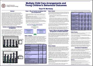 Multiple Child Care Arrangements and  Young Children's Behavioral Outcomes Taryn W. Morrissey