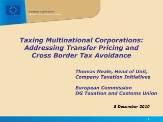 Taxing Multinational Corporations: Addressing Transfer Pricing and Cross Border Tax Avoidance