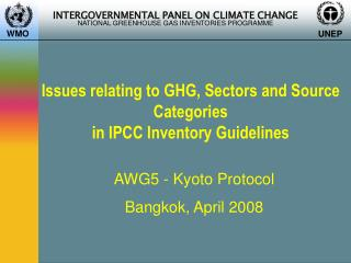 Issues relating to GHG, Sectors and Source Categories in IPCC Inventory Guidelines