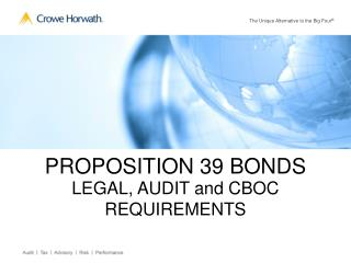 PROPOSITION 39 BONDS