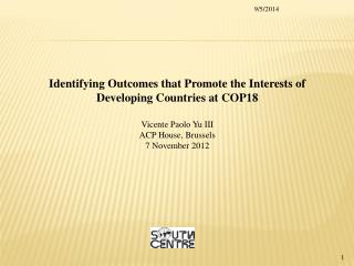 Identifying Outcomes that Promote the Interests of Developing Countries at COP18