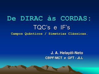 De DIRAC às CORDAS: TQC's  e  IF's Campos Quânticos / Simetrias Clássicas.