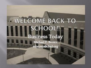 Welcome Back to School!!